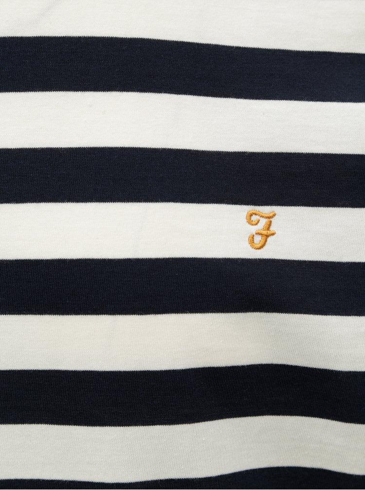 Tricou oversize crem-albastru in dungi Farah Belgrove Stripe