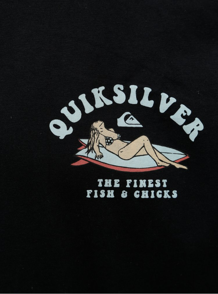 Černé pánské regular fit tričko s potiskem na zádech Quiksilver