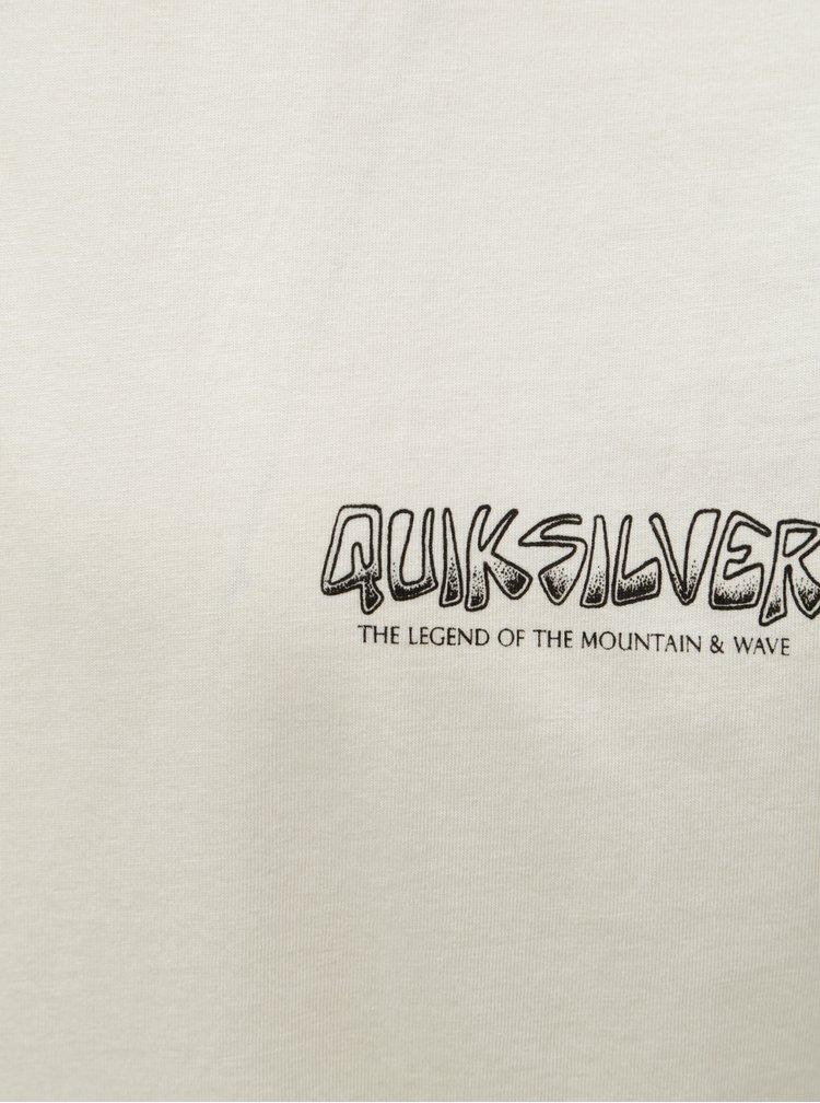 Béžové pánské modern fit tričko s potiskem na zádech Quiksilver