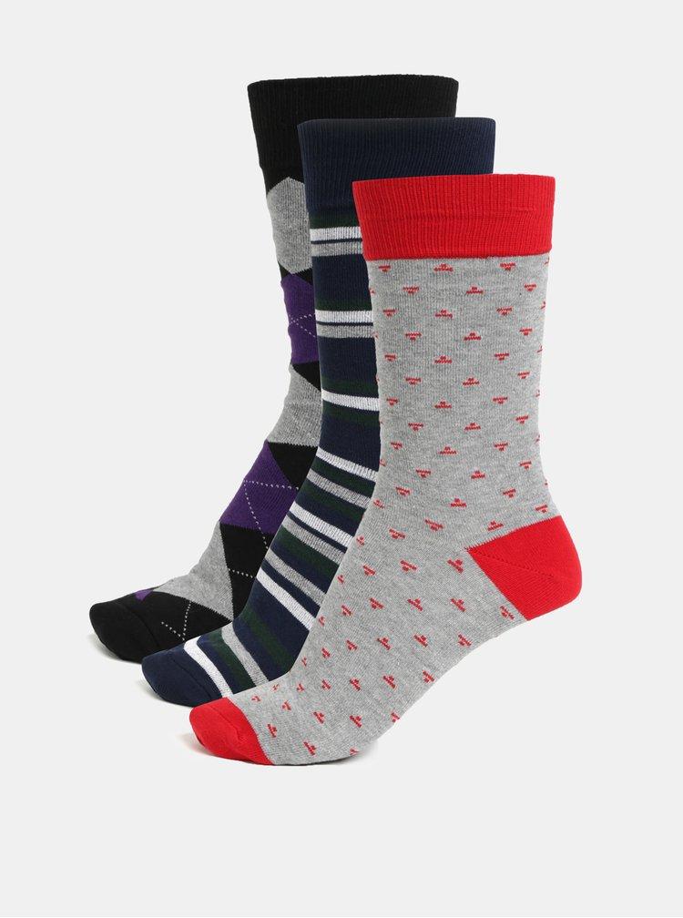 Sada tří párů ponožek v šedé a modré barvě London Brogues
