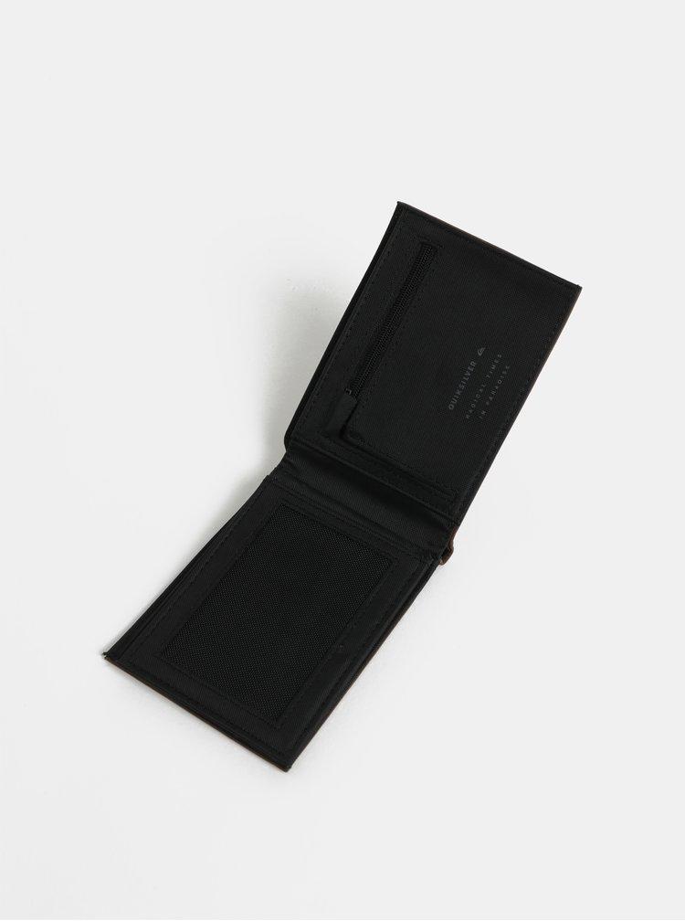 Hnědá pánská koženková peněženka s prošíváním Quiksilver