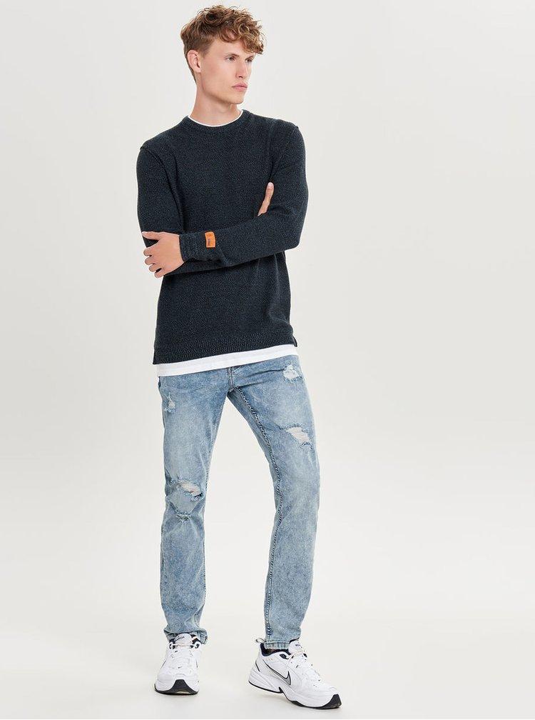 Pulover albastru inchis lejer cu partea tricou cusuta ONLY & SONS