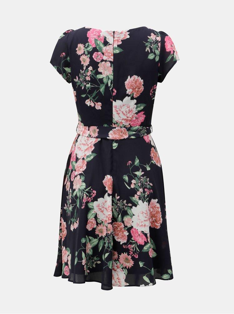 Tmavě modré květované šaty s véčkovým výstřihem  Billie & Blossom