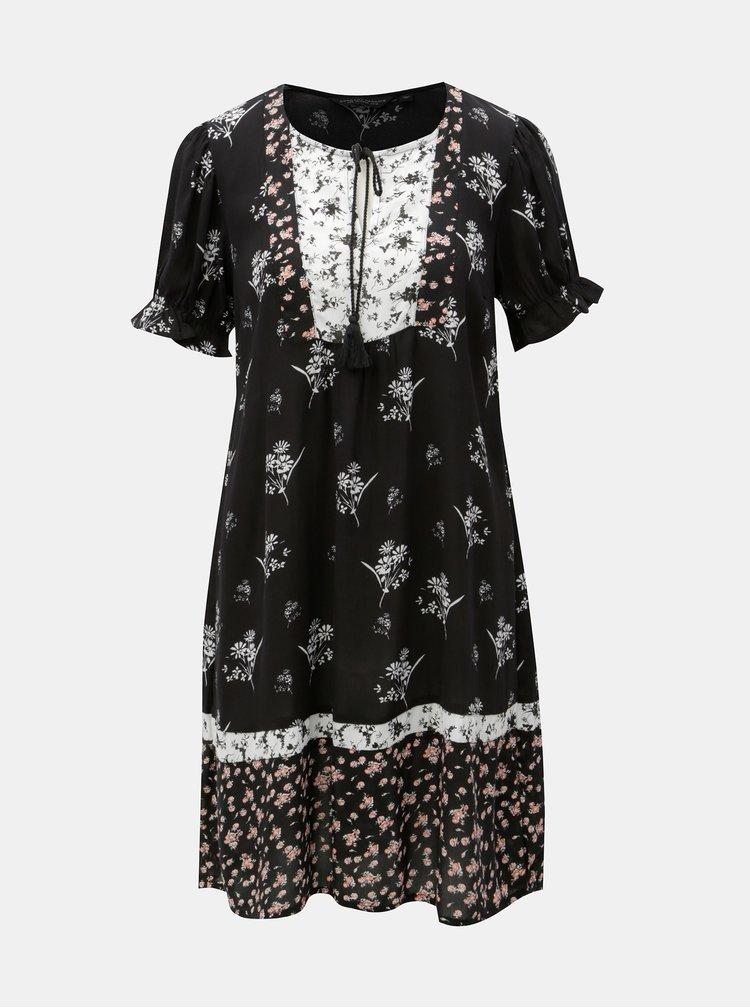 Černé vzorované šaty se zavazováním Dorothy Perkins