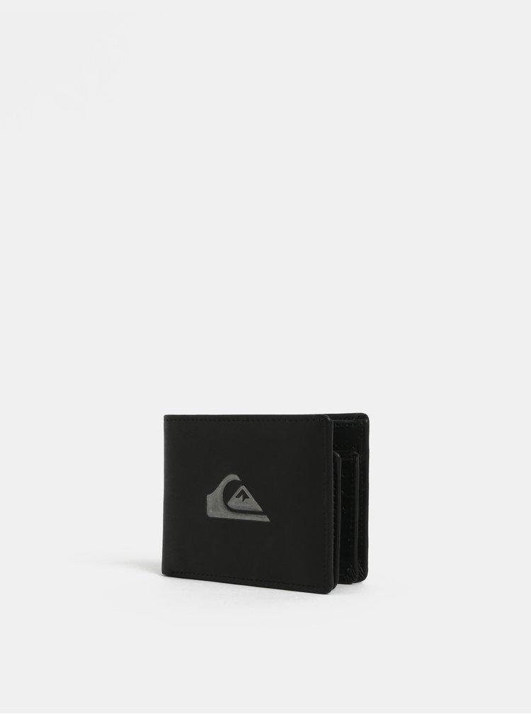 Černá pánská kožená peněženka s pouzdrem na doklady Quiksilver