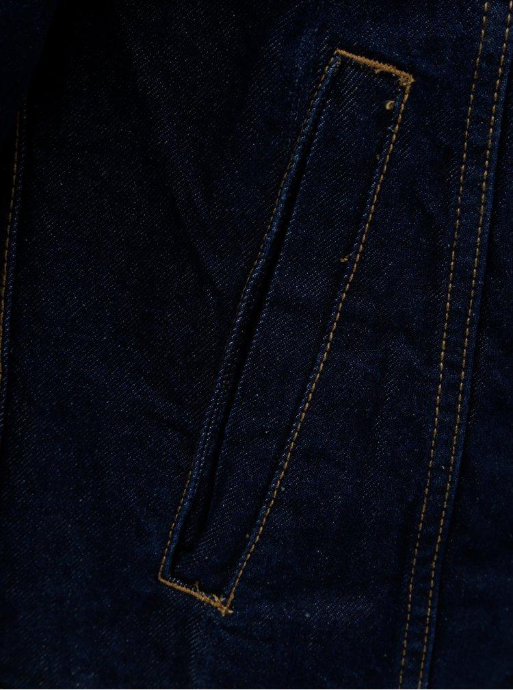 Tmavomodrá rifľová bunda s umelou kožušinou Jack & Jones