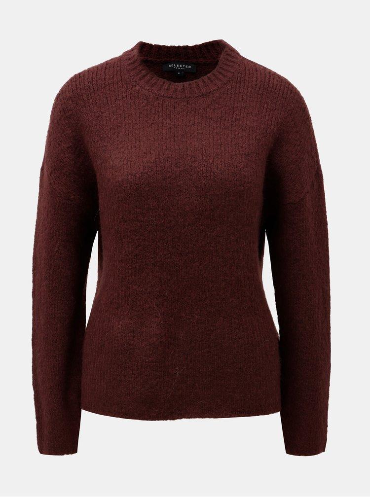 Vínový basic svetr s příměsí vlny Selected Femme Regina