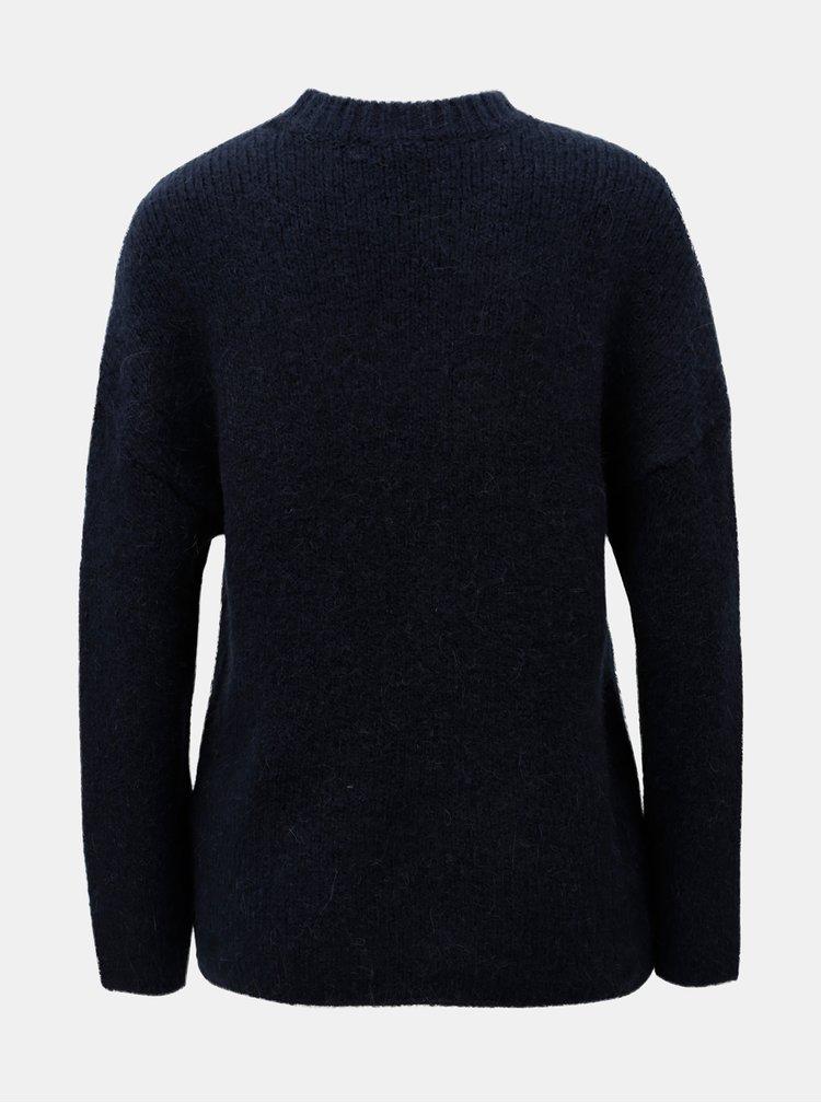 Pulover albastru cu amestec de lana si lana alpaca Selected Femme Regina