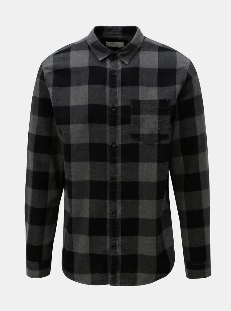 Černo-šedá kostkovaná košile Jack & Jones