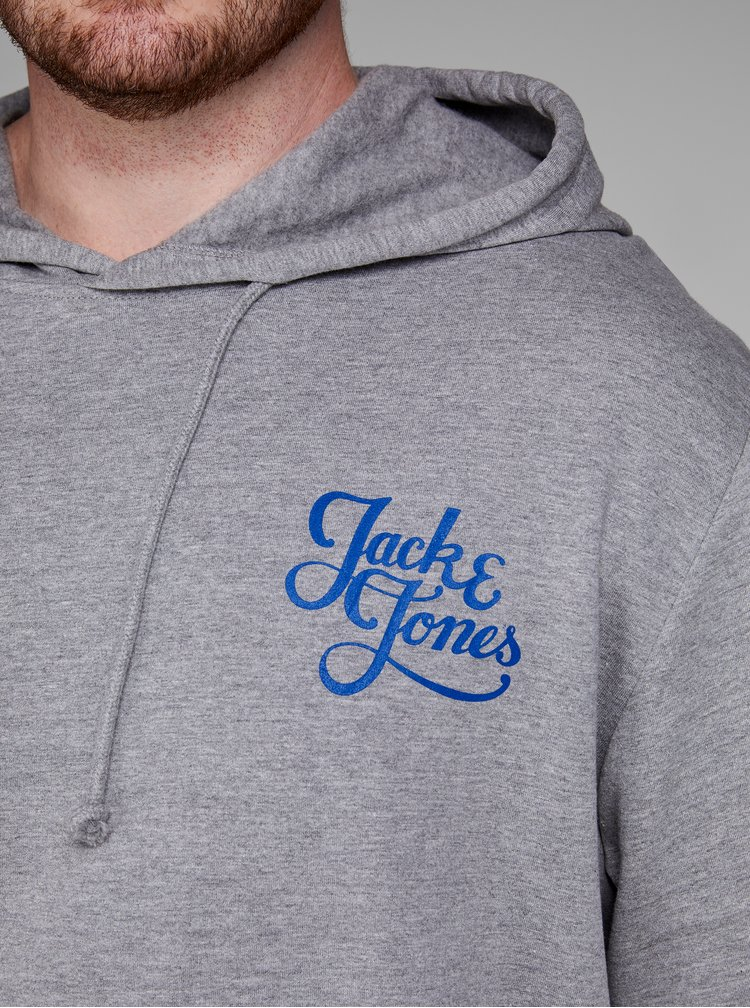 Hanorac gri melanj cu print Jack & Jones