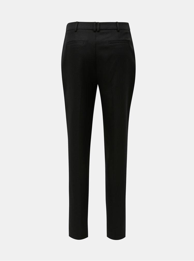 Černé strukturované slim fit kalhoty s vysokým pasem Dorothy Perkins Tall