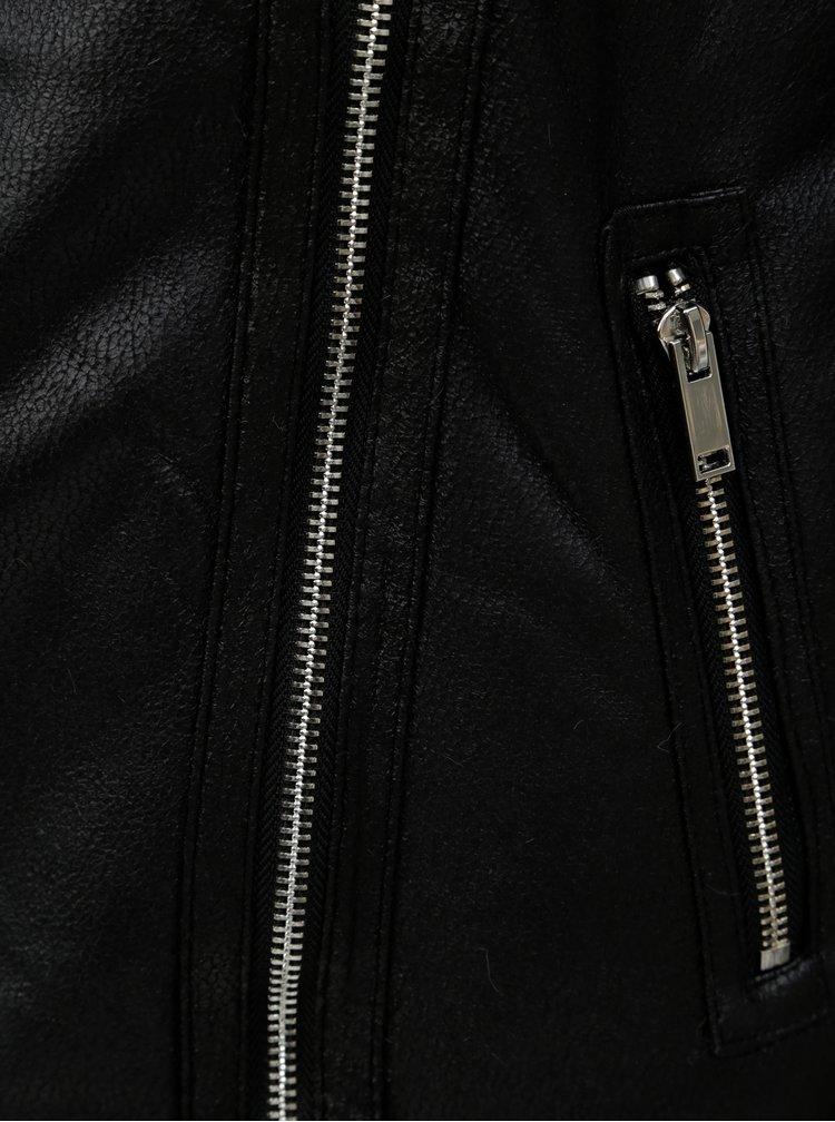 Černý koženkový křivák s kožíškem Dorothy Perkins Tall