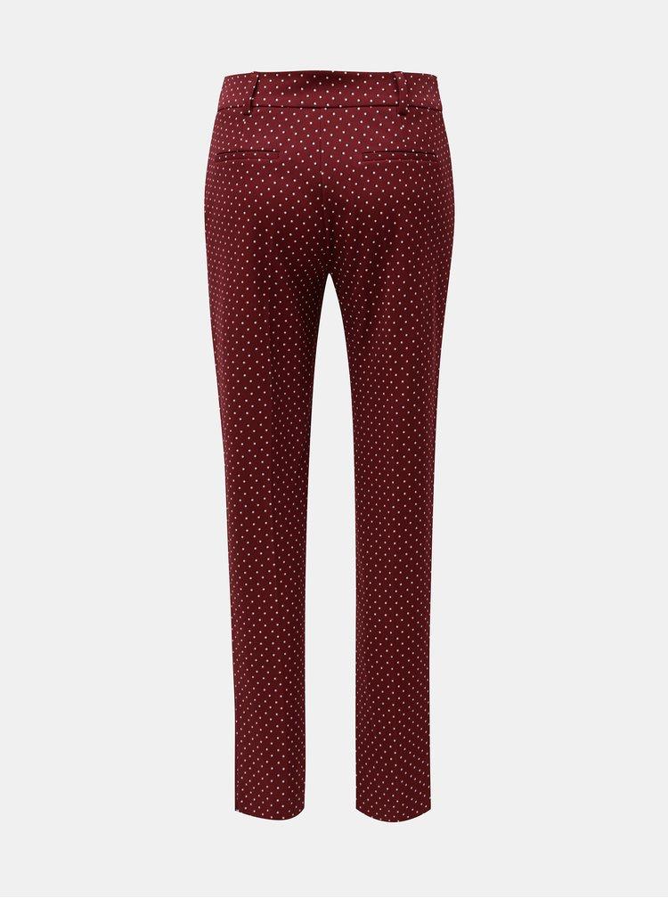 Vínové puntíkované kalhoty Dorothy Perkins Tall