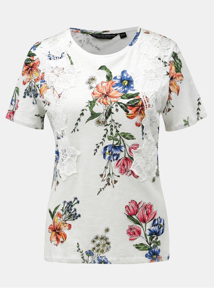 Tricou alb cu model floral si detalii din dantela Dorothy Perkins