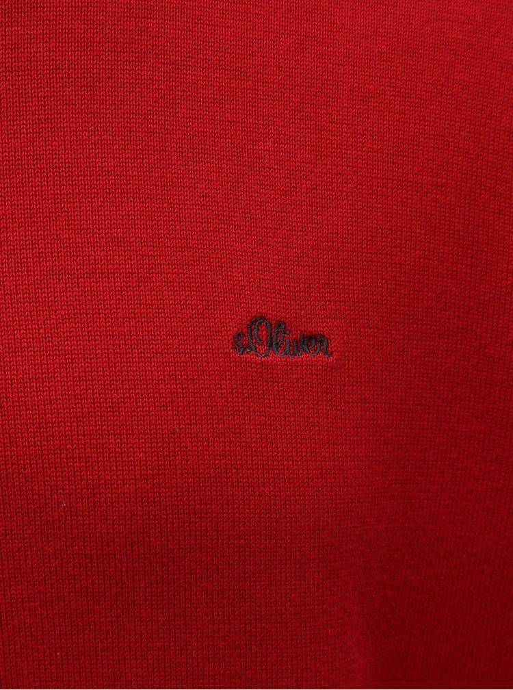 Červený pánský lehký svetr s kulatým výstřihem s.Oliver