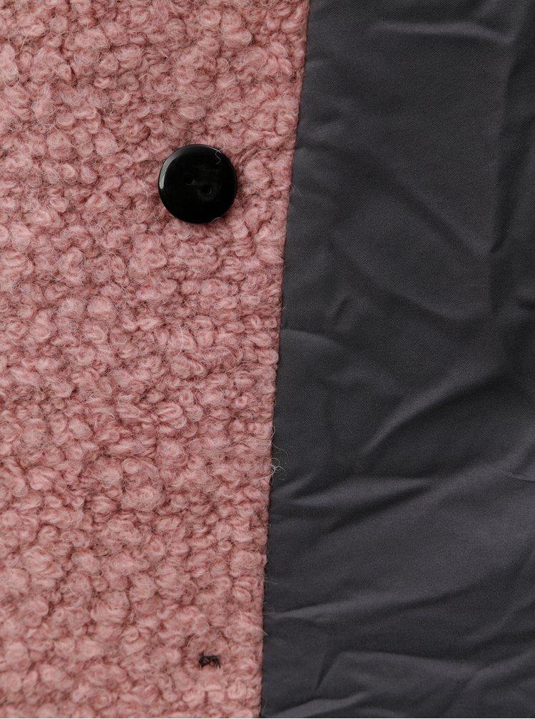 Růžový vlněný kabát s knoflíky ONLY Paloma
