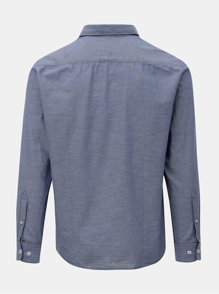 Modrá pánska pruhovaná regular fit košeľa s.Oliver