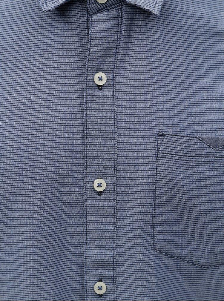 Camasa barbateasca regular fit albastra in dungi s.Oliver