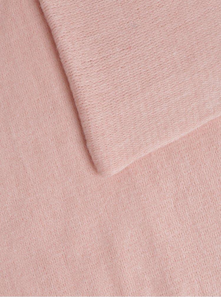 Světle růžová dutá šála Pieces Drace