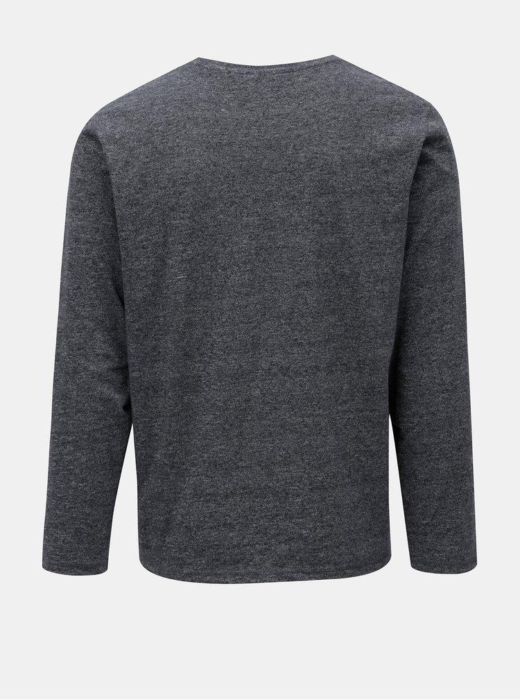 Modré žíhané regular fit tričko s potiskem s.Oliver