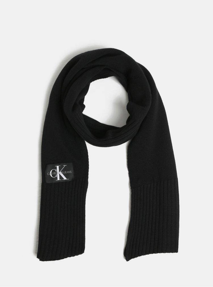 Černá šála s příměsí vlny a kašmíru Calvin Klein Jeans