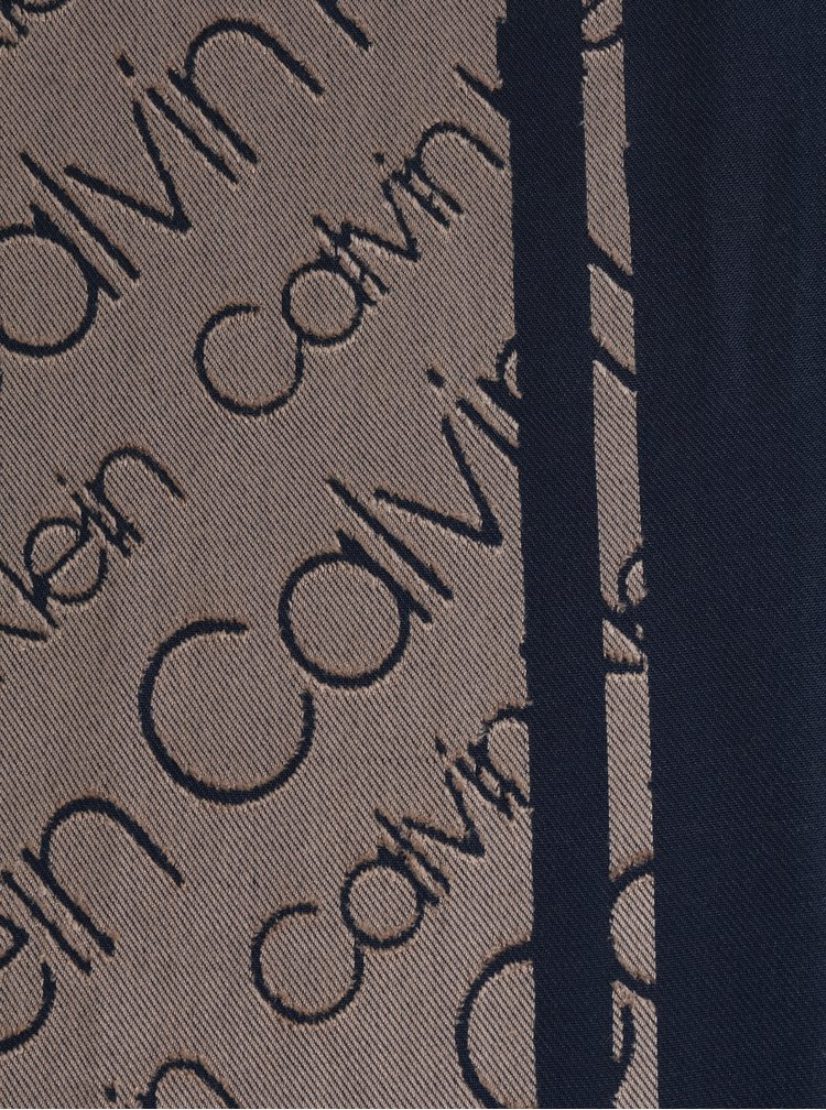 Modro-hnědá dámská vzorovaná šála Calvin Klein Jeans