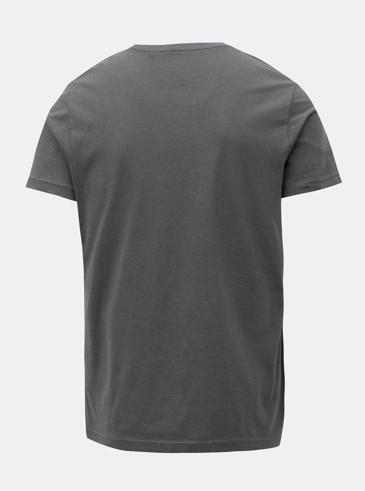 Tricou barbatesc slim fit gri inchis cu print s.Oliver