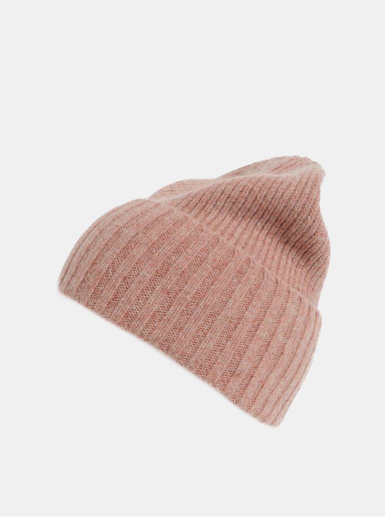 Caciula roz din lana Pieces Fold