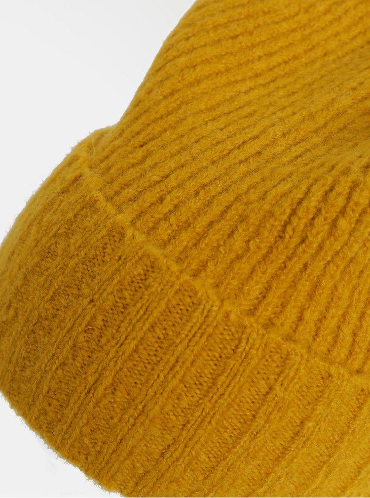 Caciula mustar cu pom pom si amestec de lana Pieces Diana