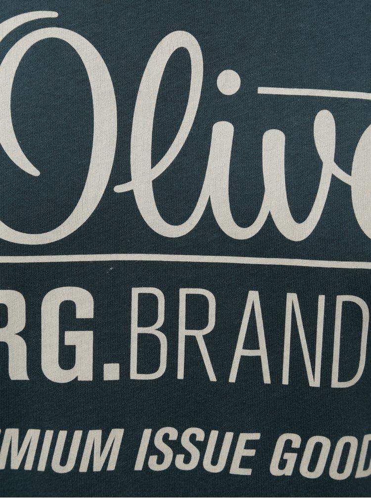 Zelenomodré pánské regular fit tričko s potiskem s.Oliver