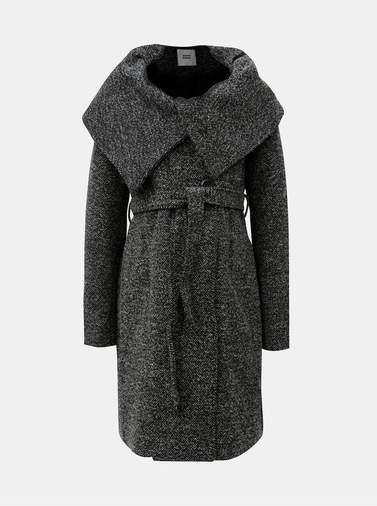 Šedý těhotenský kabát s límcem a páskem Mama.licious