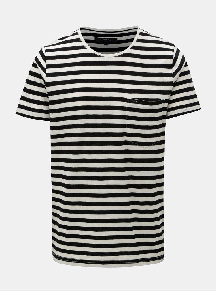 Bílo-černé pruhované basic tričko s náprsní kapsou Makia Verkstad