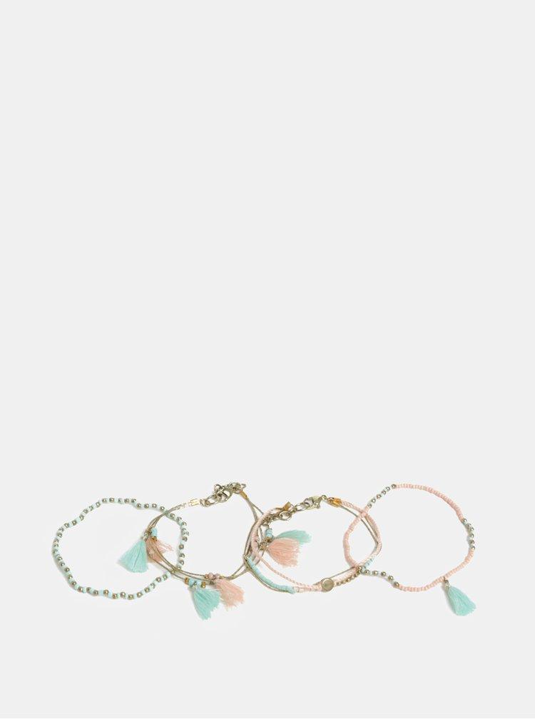 Sada čtyř růžovo-mentolových náramků s třásněmi ONLY Elly
