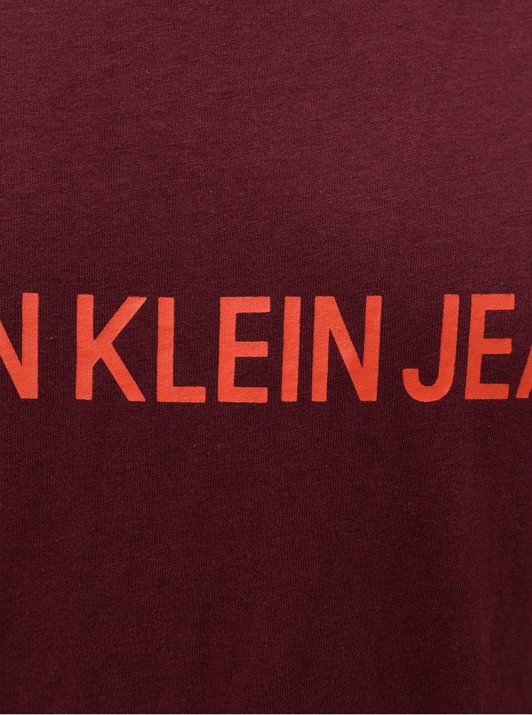 Vínové pánské tričko s potiskem Calvin Klein Jeans