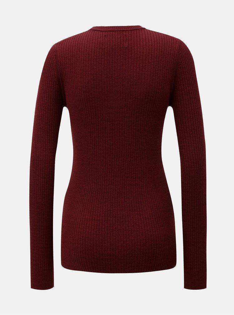 Vínový dámský svetr s nášivkou a příměsí vlny Calvin Klein Jeans