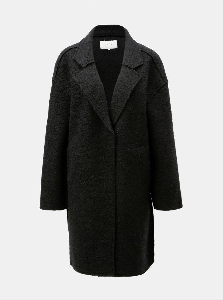 Čierny vlnený kabát VILA Rah