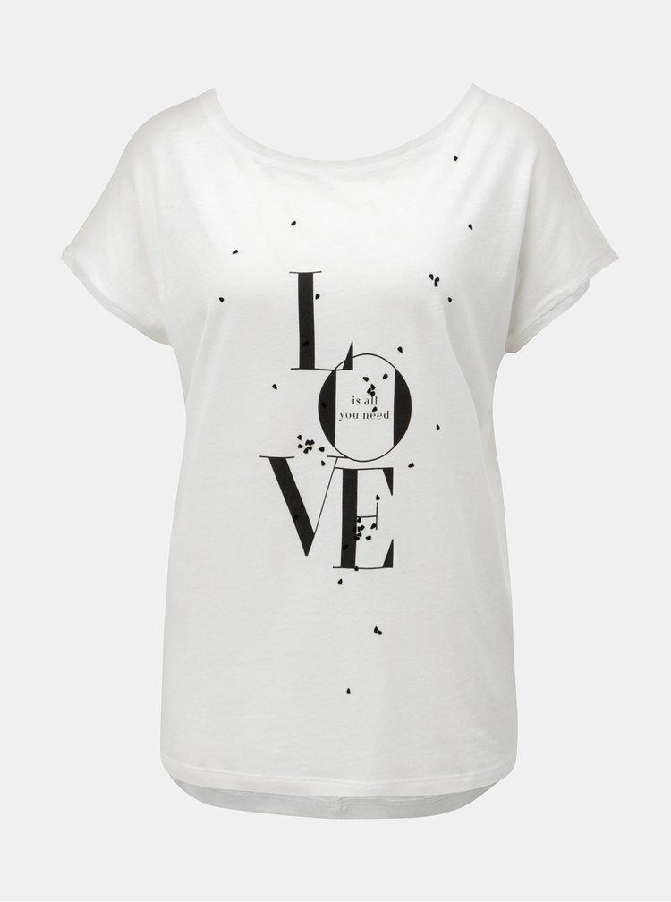 Bílé dámské volné tričko s potiskem s.Oliver