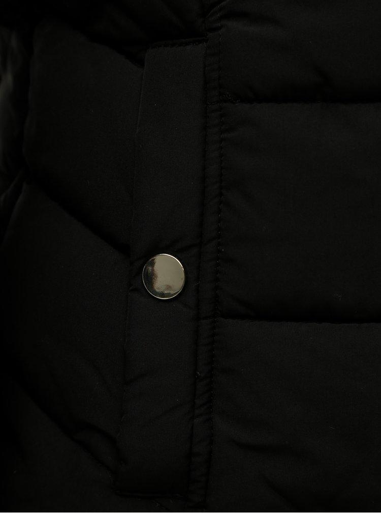 Geaca neagra matlasata cu blana artificiala Miss Selfridge