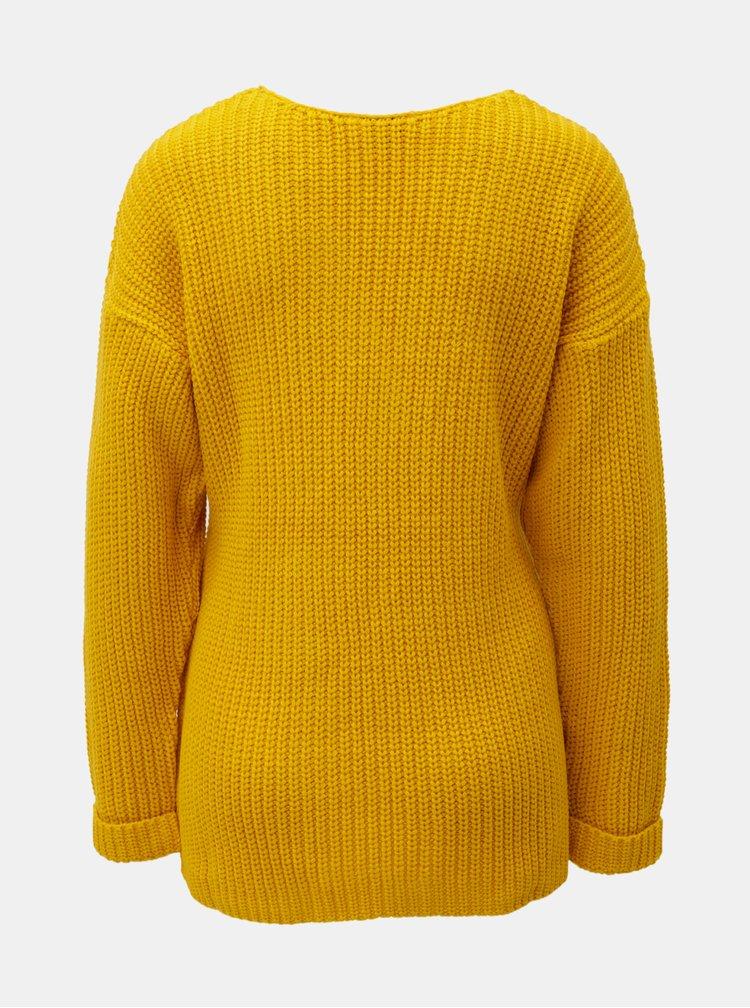 Žltý sveter s prekladaným predným dielom Miss Selfridge
