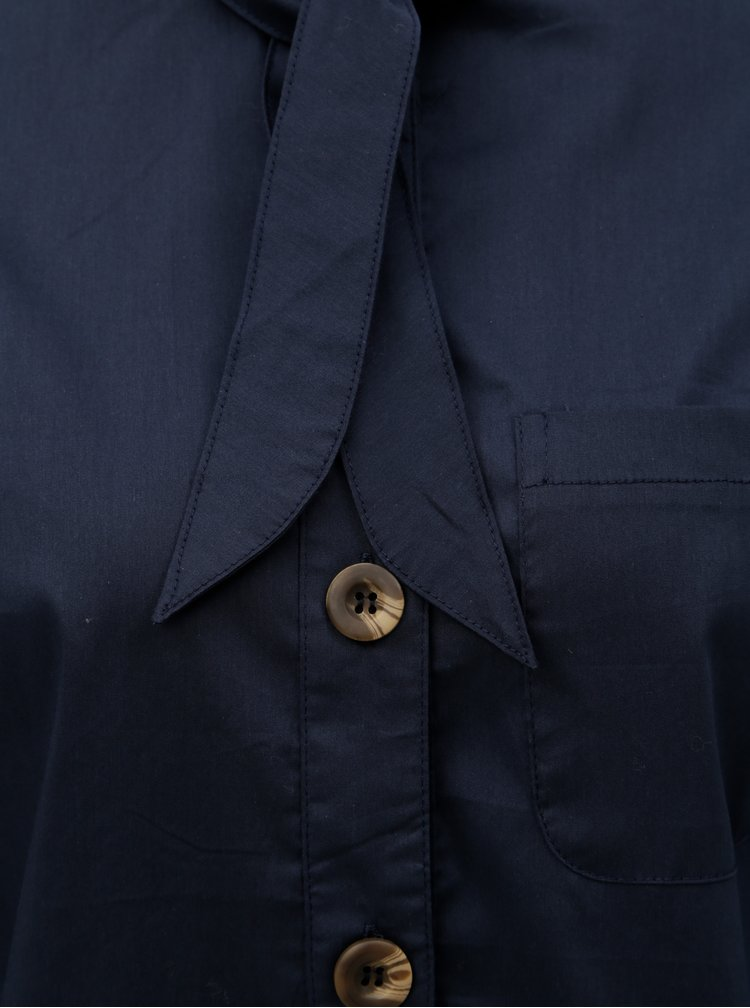 Camasa albastru inchis cu snur la gat ELVI