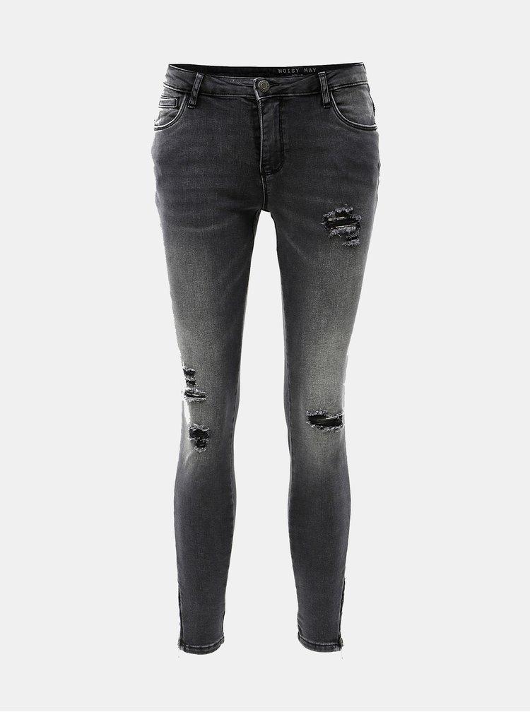 Šedé zkrácené skinny džíny s potrhaným efektem a nízkým pasem Noisy May