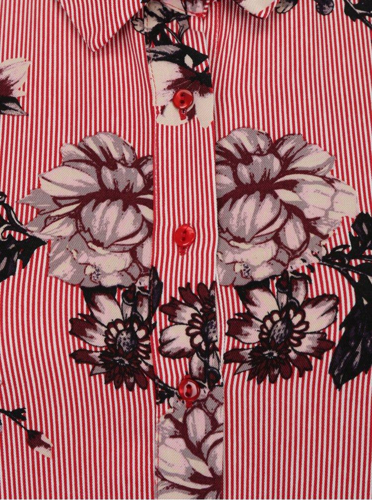 Červené květované košilové maxišaty VILA Valene