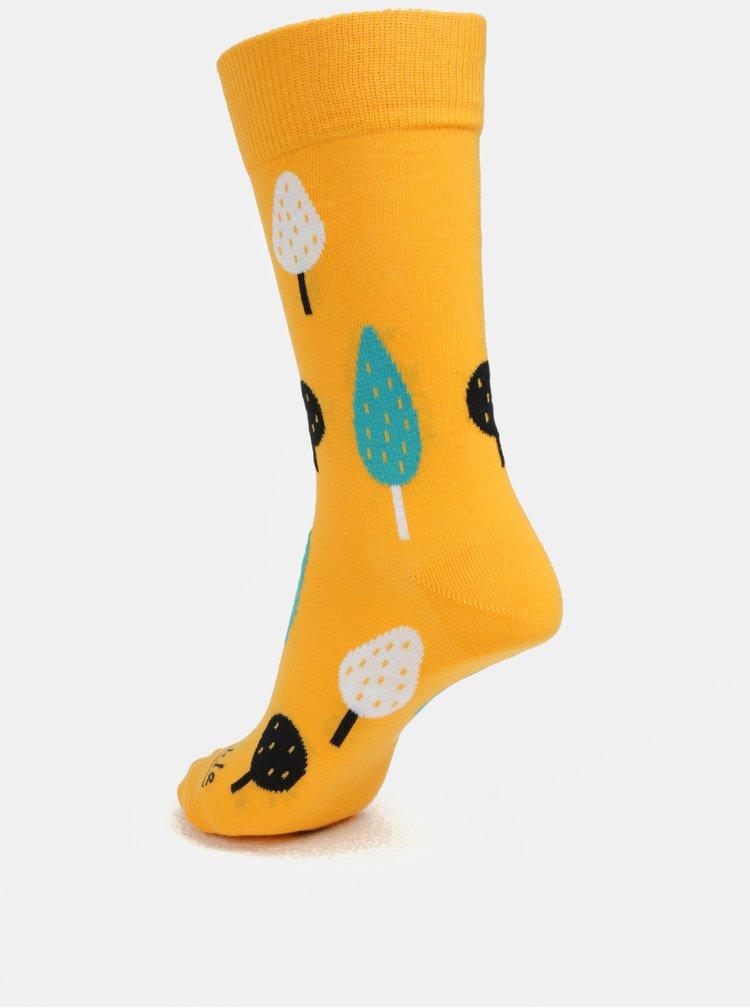 Žluté ponožky s motivem stromů Fusakle Ovocný sad