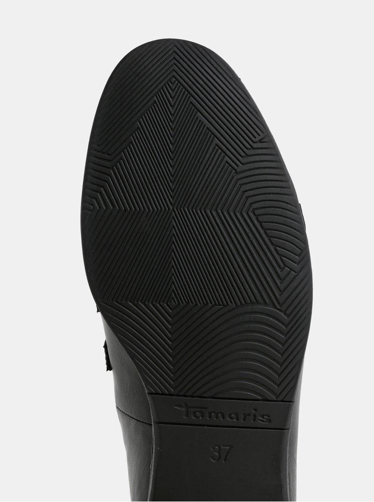 Černé kožené mokasíny s přezkami Tamaris