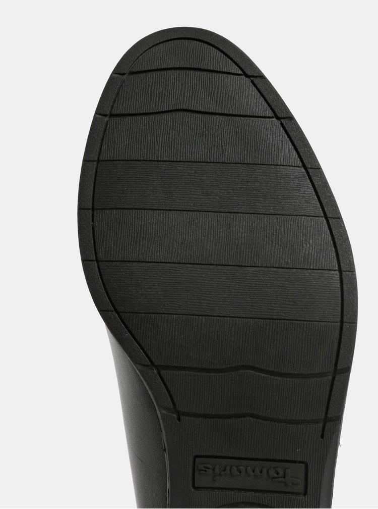 Pantofi negri din piele naturala cu volane Tamaris