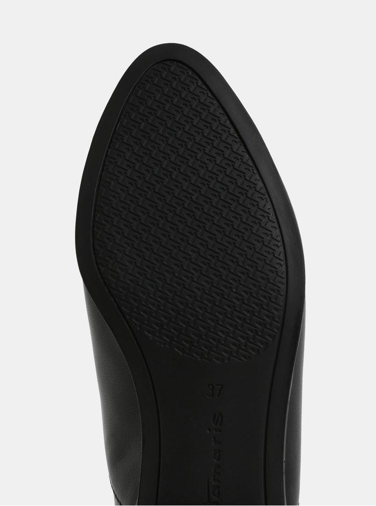 Černé kožené polobotky Tamaris
