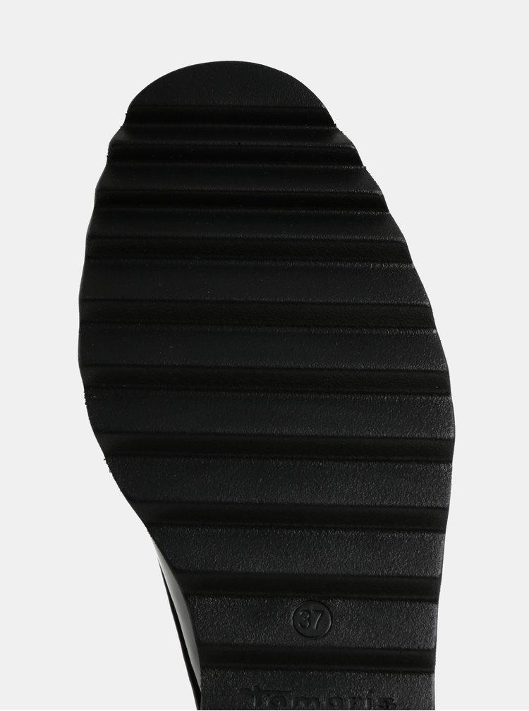 Pantofi negri cu aspect lucios si platforma Tamaris