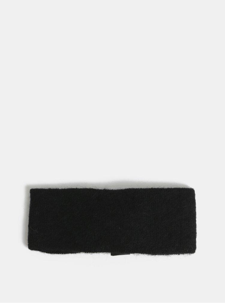 Černá vlněná čelenka Pieces Josefine