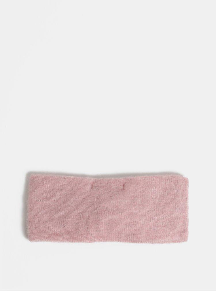 Růžová vlněná čelenka Pieces Josefine