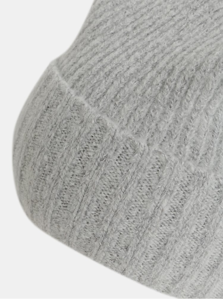 Sivá melírovaná čiapka s brmbolcom a s prímesou vlny Pieces Diana